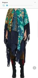 Sold Out Prorsum Runway Woven Patchwork Poncho With Calf-suede Fringeandnbsp