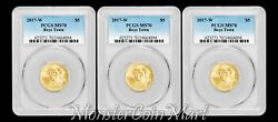 [lot Of 3] - 2017-w 5 Gold Boys Town Commemoratives Pcgs Ms70 - Low Mintage