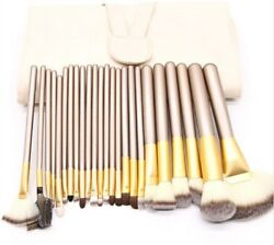 Professional 24 pcs foundation makeup powder brushes set with faux leather bag