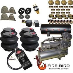 B C10 Air Ride Suspension Kit Chevy 1963-72 3/8 Valves Blk 7 Switch Bags Tank