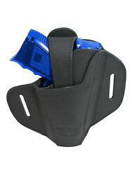 New Barsony Ambidextrous Black Leather Pancake Holster For Compact 9mm 40 45