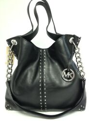 NWT Michael Kors Uptown Astor Black Leather Silver Studded Large Tote $458 NEW