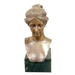 Antique Bronze Bust Style Of A Girl 16 Inches Classical Elegant Home Decor