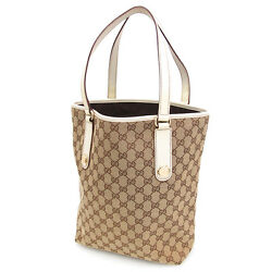 GUCCI Auth 153009 Tote Bag Canvas Leather Beige Bucket Ladies FS Mint #4533