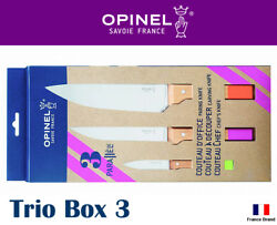 Opinel France Trio Box 3 Parallel Pop Chef Carving Paring Knife Set