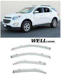 Wellvisors Side Window Visors For Chevy Equinox 2010-2017 Deflectors Chrome Trim