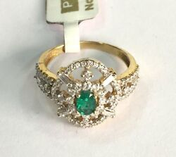 14k Solid Gold Jewelry Natural Emerald And Diamond Gemstone Ring India
