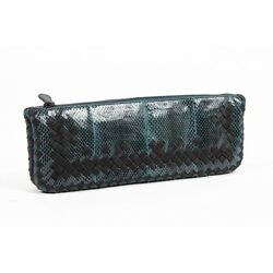 Bottega Veneta Women's Python Leather Clutch Handbag GREEN