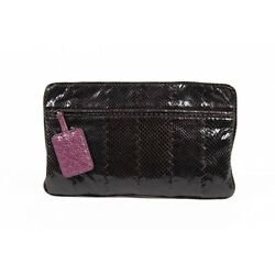 Bottega Veneta Women's Python Leather Clutch Handbag BLACK