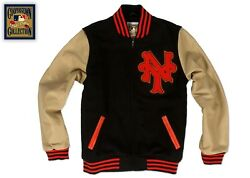 New York Giants/mets Mitchell And Ness Auth Wool And Leather Varsity Jacket Sz 60/4x
