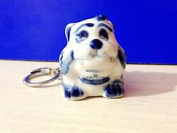 English Bulldog keychain porcelain figurine Dog from Russia miniature dogs