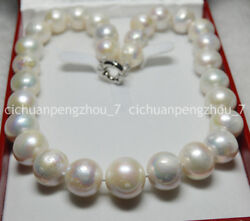 White 13-15mm Huge Round South Sea Baroque Pearl Necklace 18 Jewelry Box