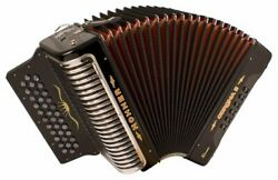 Hohner Button Accordion Corona Ii Xtreme Ead, With Bag And Straps, Jet Black