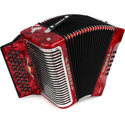 Hohner Button Accordion Corona Ii Xtreme Ead, With Bag And Straps, Pearl Red