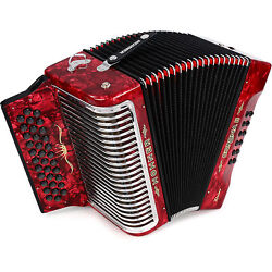 Hohner Button Accordion Corona Ii Xtreme Ead With Bag And Straps Pearl Red