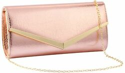 Women Evening Party Clutch Bags Bridal Wedding Purse (ROSE GOLD) Evening Party