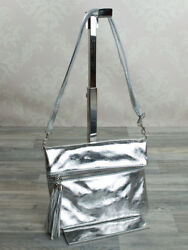 Italian Messenger Bag Evening Shoulder Clutch Silver Metallic Real Leather 986