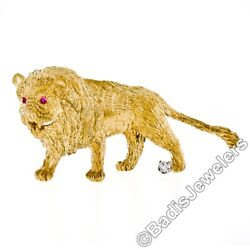Vintage Hand Textured 18K Super Yellow Gold Diamond & Ruby Eye Lion Brooch Pin