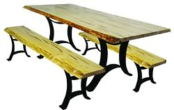 Wormy Maple Dining Set with Golden Gate Base - Live Edge Top - Table