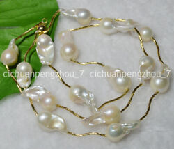 Natural 15-23mm South Sea White Baroque Real Pearl Necklace 24/30and039and039 14k