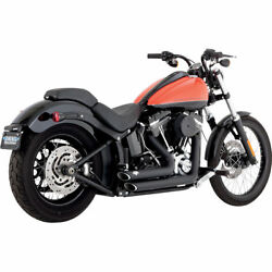 Vance & Hines Black Shortshots Staggered Exhaust for 2012-2017 Harley Softail