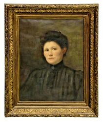 Oil Painting, Framed Portrait Of A Victorian Woman, 1800s, Impressive Antique