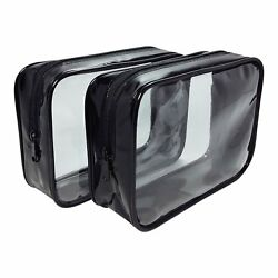 2-Pack Clear Cosmetic Bag - TSA Approved Carry On Quart Size 3-1-1 Travel BagNEW