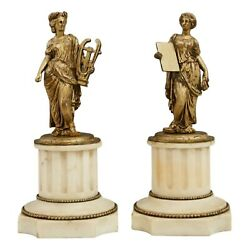 Figures Gilt Spelter Pair Of Music And Literature Marble Early 1900s