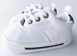 Baby Deer White Canvas Lace-Up Sneaker  Size 0 1 2 3