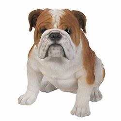 Sitting Bulldog Statue Detailed Glass Eyes Hand Painted Resin Large 14.5