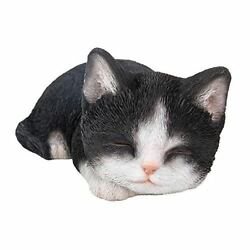 Sleepy Black and White Cat Kitten Sleeping Figurine Hand Paint Resin Figure