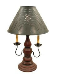Barn Red And Black Rub Lamp Wood And Wrought Iron With Punched Tin Willow Shade Usa