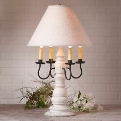 Large Country Table Lamp And Ivory Linen Shade Distressed Vintage White Finish Usa