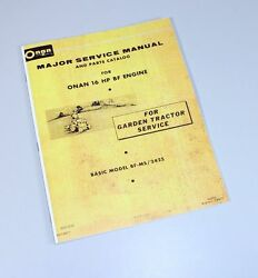 Sears Ss/16 Twin 917.25750 Onan Bf Ms Engine Garden Tractor Service Parts Manual