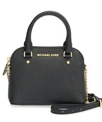 New Michael Kors Cindy XSmall MINi Crossbody Saffiano Leather black Bag Gold