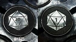 Coalburn classic Hobo Nickel   Hand carved Dungeons and Dragons 20 sided die