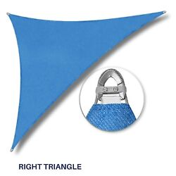 Blue 32-48ft Right Triangle Heavy Duty Steel Wire Sun Shade Sail Patio W/8 Kit