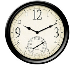 Springfield Wall Outdoor Clock and Thermometer 14quot;