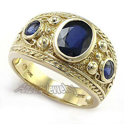 Menand039s Ceylon Sapphire Ring 14k Yellow Gold Etruscan Byzantine Style Ring