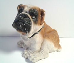 Large Vintage Life-Like English Bulldog Ceramic Coin Bank Statue Decor Dog