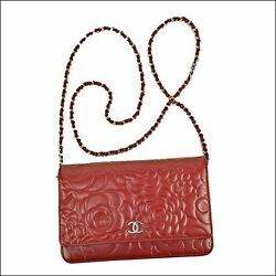 CHANEL Camellia Chain Wallet Shoulder Bag Clutch Lamb Skin Red A47421 Used (A)