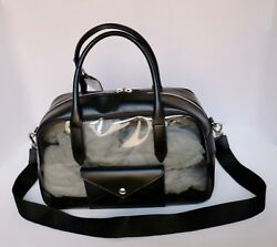 Womens Jil Sander Navy Crossbody Bag Black Leather Grey PVC Dufflel Gym Bag NEW