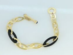 Roberto Coin 18K Yellow Gold Chic And Shine Black Rubber Link Toggle Bracelet