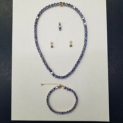 Unique Tanzanite Necklace - 61ct wt - silver & gold 14k585925 - 69 gemstones