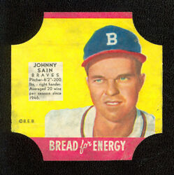 1951 Fischer's Bread End Labels Bread For Energy Baseball Series - Johnny Sain