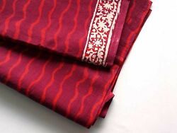 Red Stripe Fabric Hand Block Print Cotton Border Fabric Natural Dyes 2½ Yards