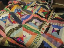 HAND MADE QUILT MADE BY A COUPLE OF ELDERLY LADIES MOST BY HAND SOME MACHINE DON