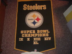 Nfl Pittsburgh Steelers 24 X 38 5 Time Super Bowl Champions Cloth Banner