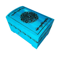 Wooden Carved Jewellery Chest Lock And Key In Azure Color