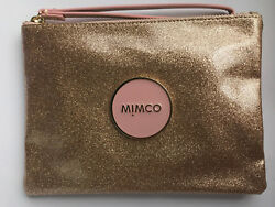 Mimco Shimmer Rose Gold Glitter pouch clutch evening bag Authentic medium